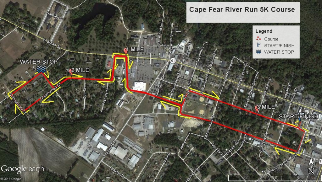 Cape Fear River Run 5K course map
