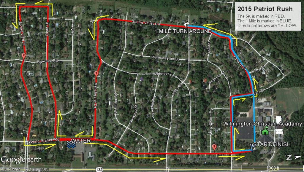 2015 Patriot Rush Course Map