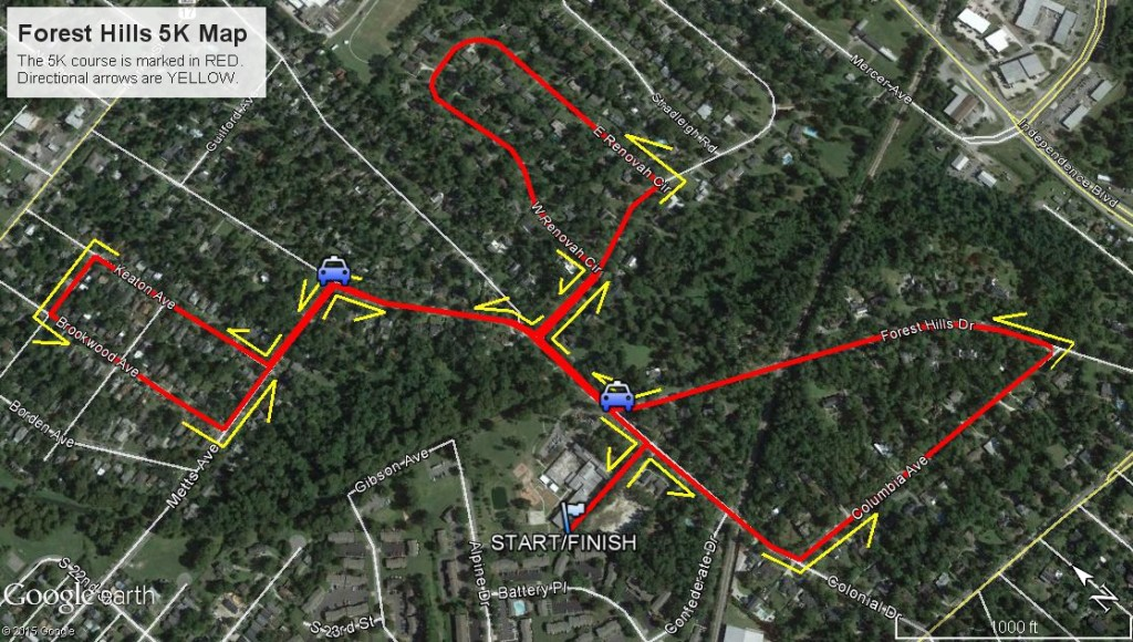 Forest Hills 5K Map