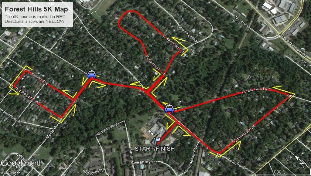 Forest Hills 5K Map